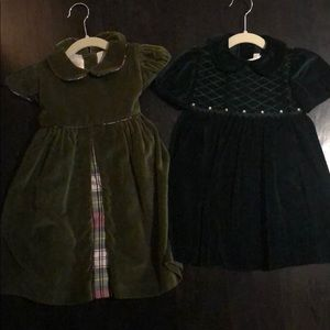 2 beautiful velvet toddler dresses